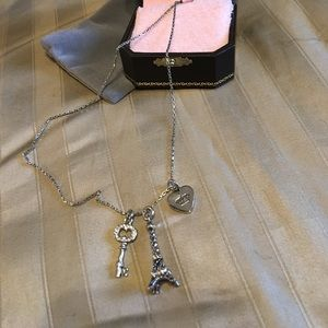 Juicy couture heart key Eiffel Tower necklace